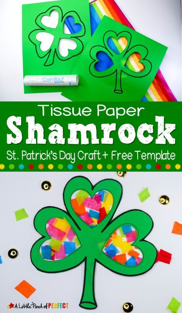 St. Patrick's Day Shamrock Craft and Free Template -