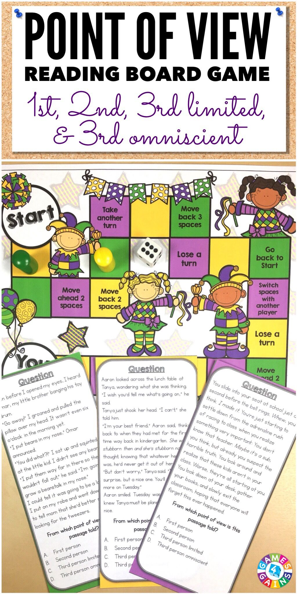 Point Of View Task Cards Game Includes Third Person