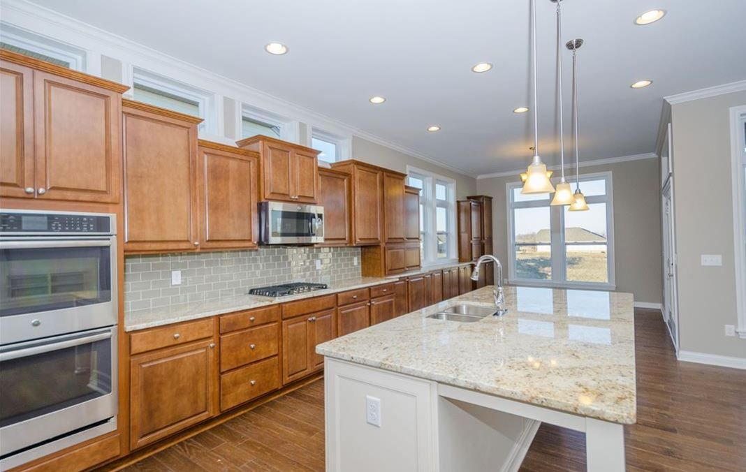 Gourmet Kitchen Radford Maple Saddle Perimeter Cabinets Landen Painted Antique White Island