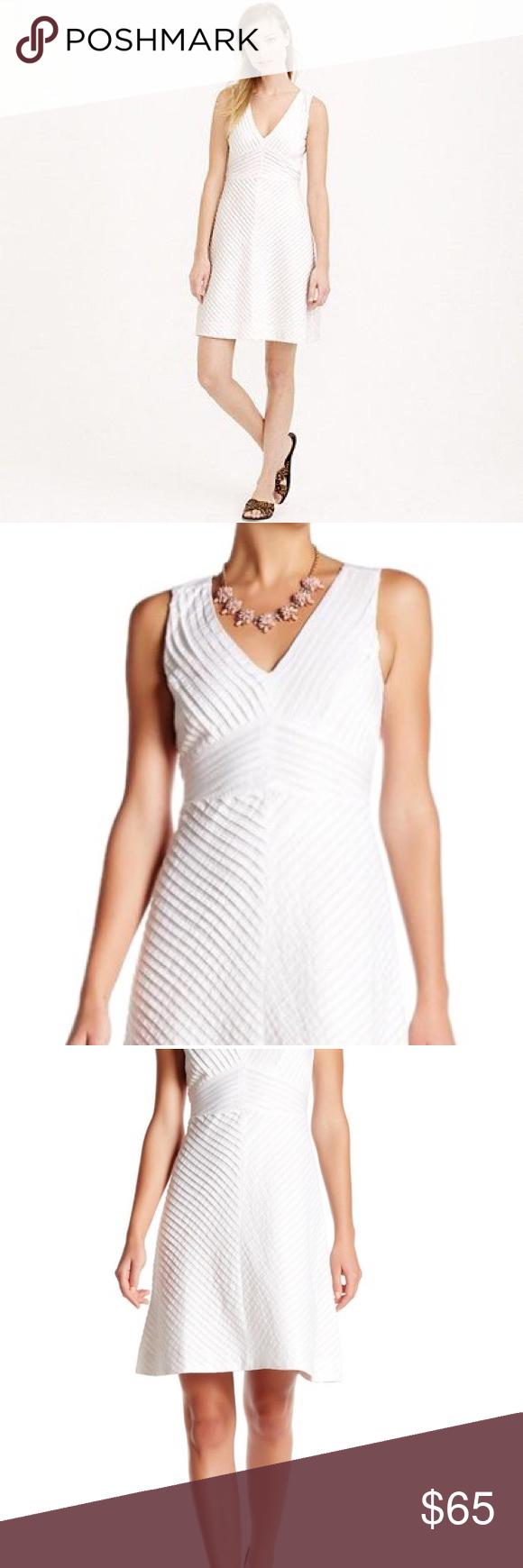 """J. Crew French Seam Dress Gorgeous white dress from J. Crew, French seam pleat construction, light and airy white, fully lined, textured design on back of bodice. 38"""" length perfect for work or play! EUC, no major flaws. J. Crew Dresses"""