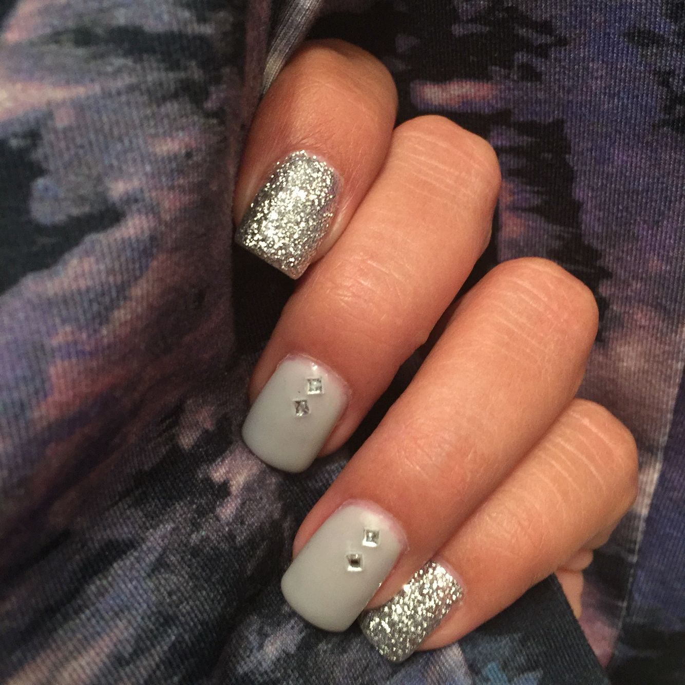 Pretty nail design ideas - silver nails with square gems and silver ...