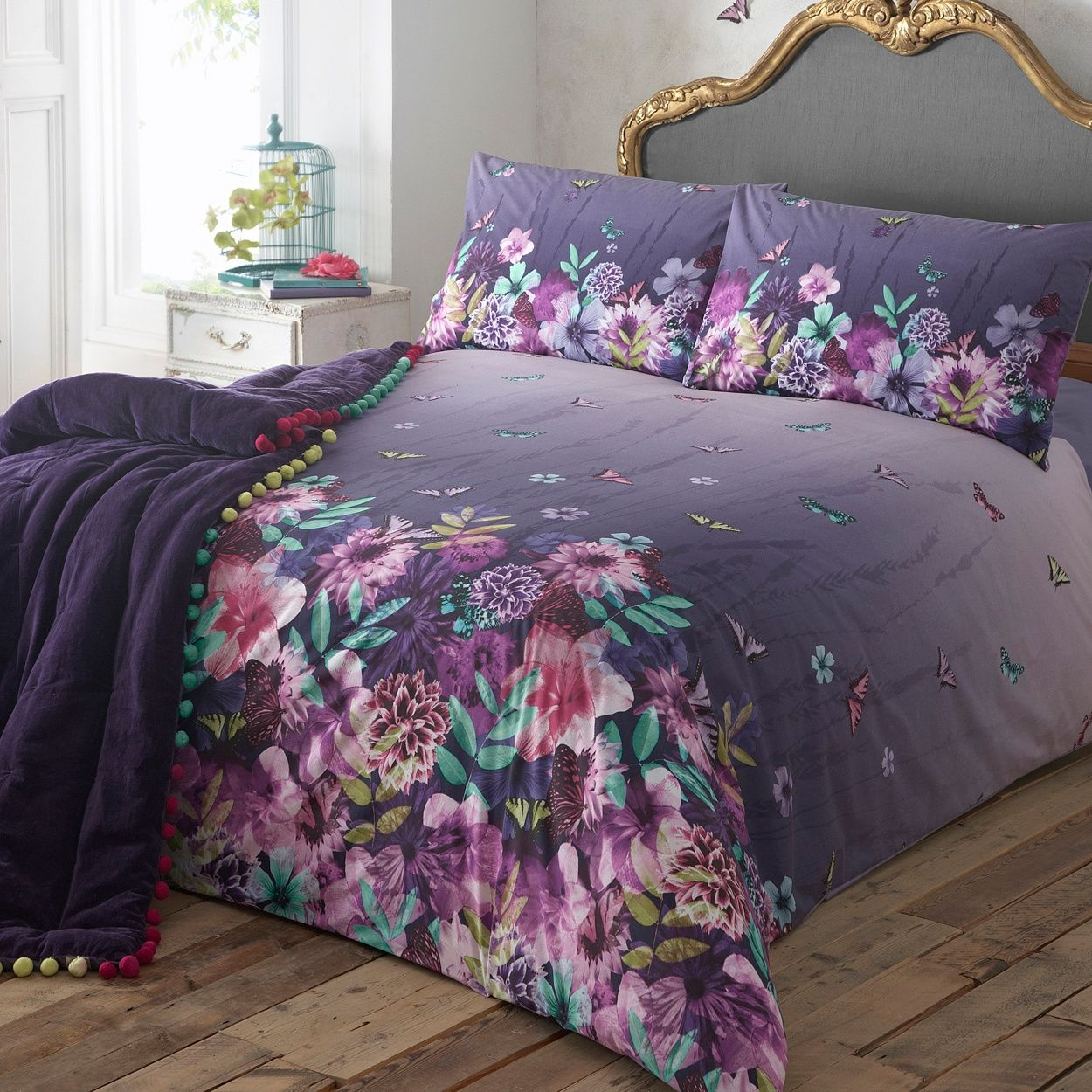 Beau Butterfly Home By Matthew Williamson Designer Purple Butterfly Garden  Bedding Set  At Debenhams.com