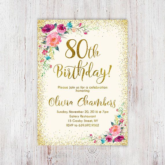 Any Age Women Birthday Invitation 80th Floral Ivory And Gold Boho Invite 108
