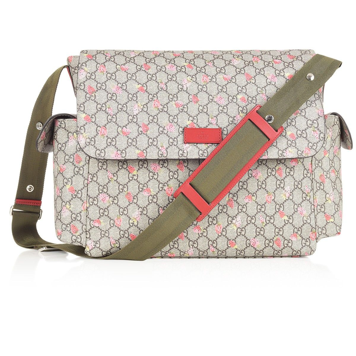 3cf4ea36d38acb GUCCI Beige GG Logo & Strawberry Print Baby Changing Bag | New Mom's ...