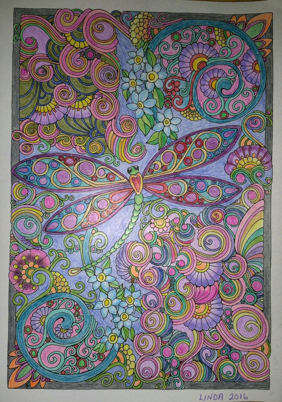 Coloring in dragonflies - Creative Haven Entangled Dragonflies Colored By Linda Koenig