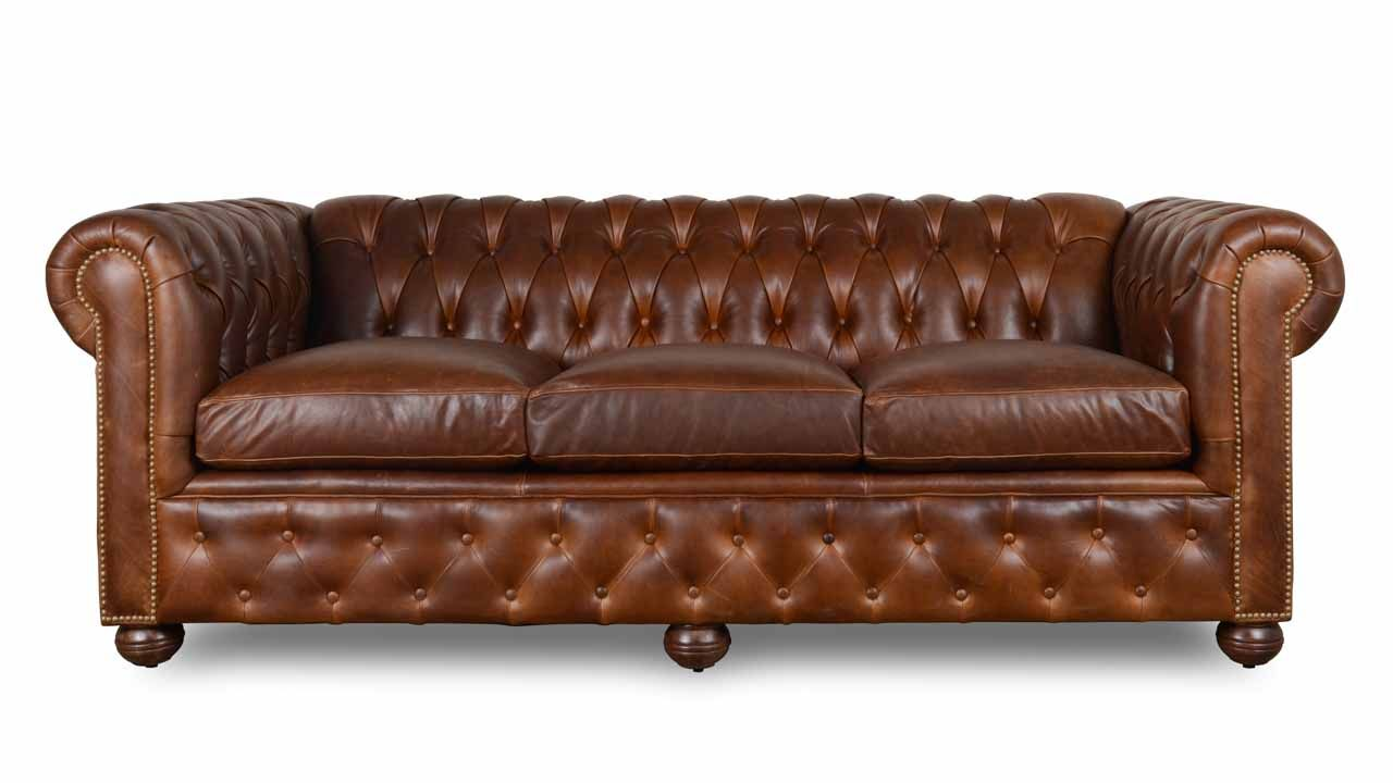 Traditional Chesterfield Leather Sofa - Made in USA