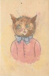 head and shoulders of cat, ribbon in bow on neck, hair on end.  Louis Wain postcard