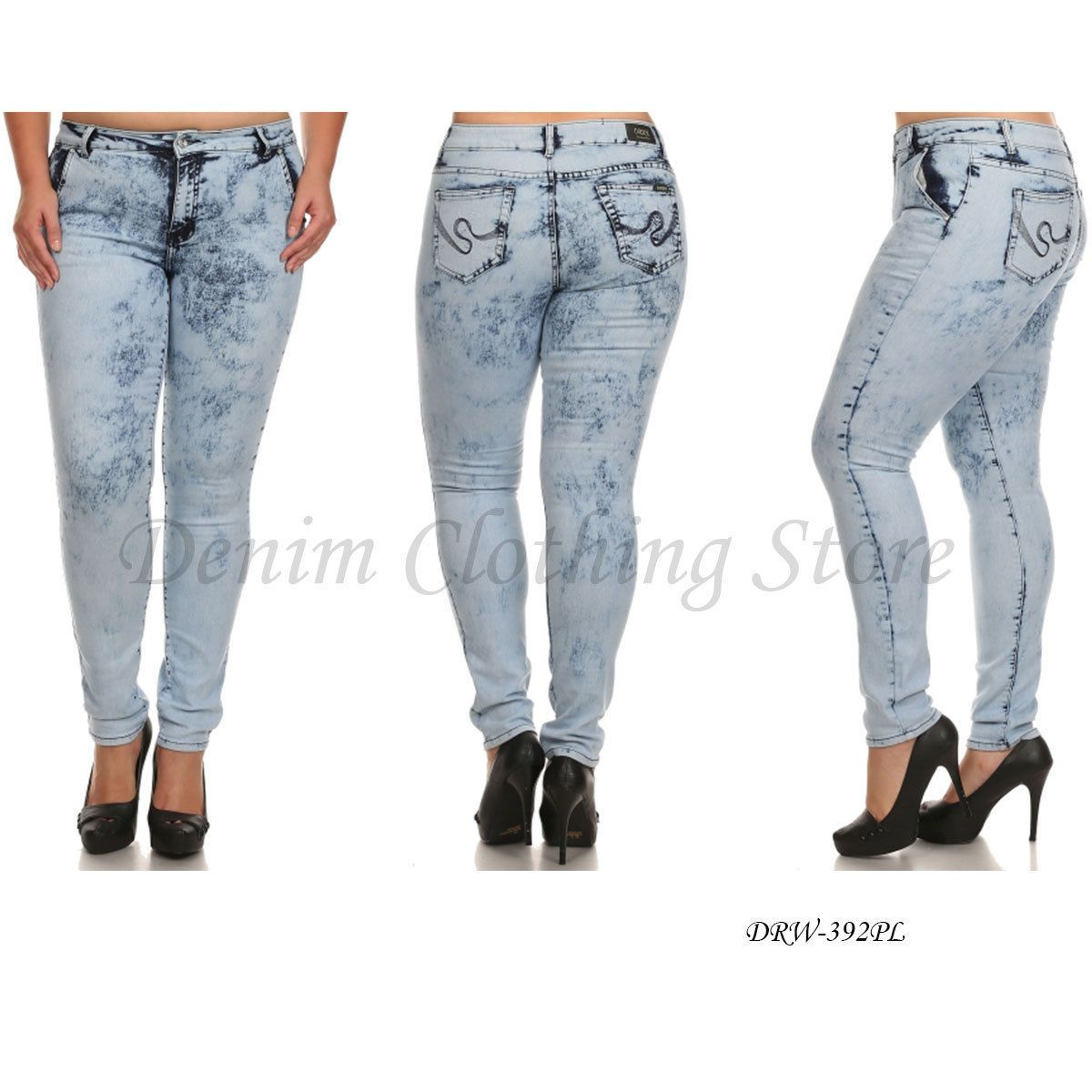 Details about Womens Juniors Plain Acid Wash Stretch Denim Slim ...