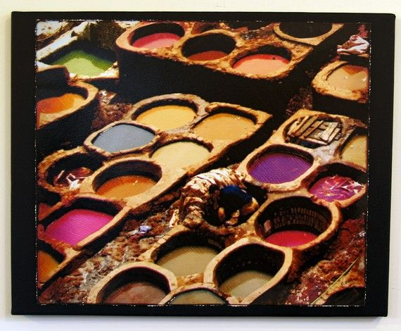 Color Vats in Fez Morocco leather dying by shadygroveimages, $55.00