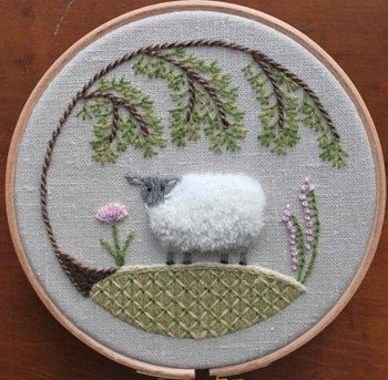 Sheep Crewel Embroidery Pattern And Kit By Theflossbox On Etsy Via