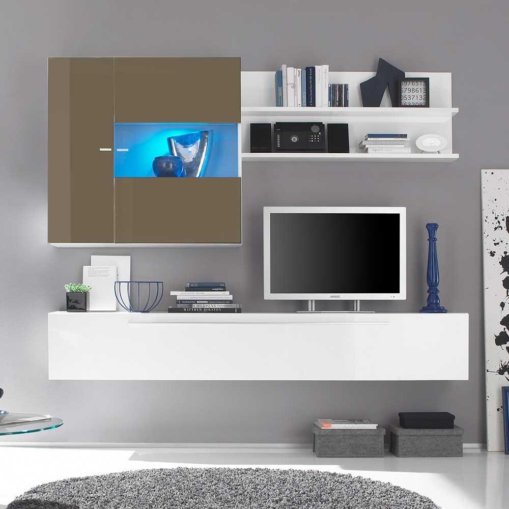 Design Wohnwand In Weiß Beige Hochglanz Hängend (3 Teilig)  Wohnzimmerschrank,wohnwand,