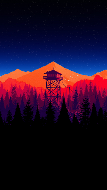 Firewatch With Orange Mountain Scenery Wallpaper Landscape Wallpaper Minimalist Wallpaper