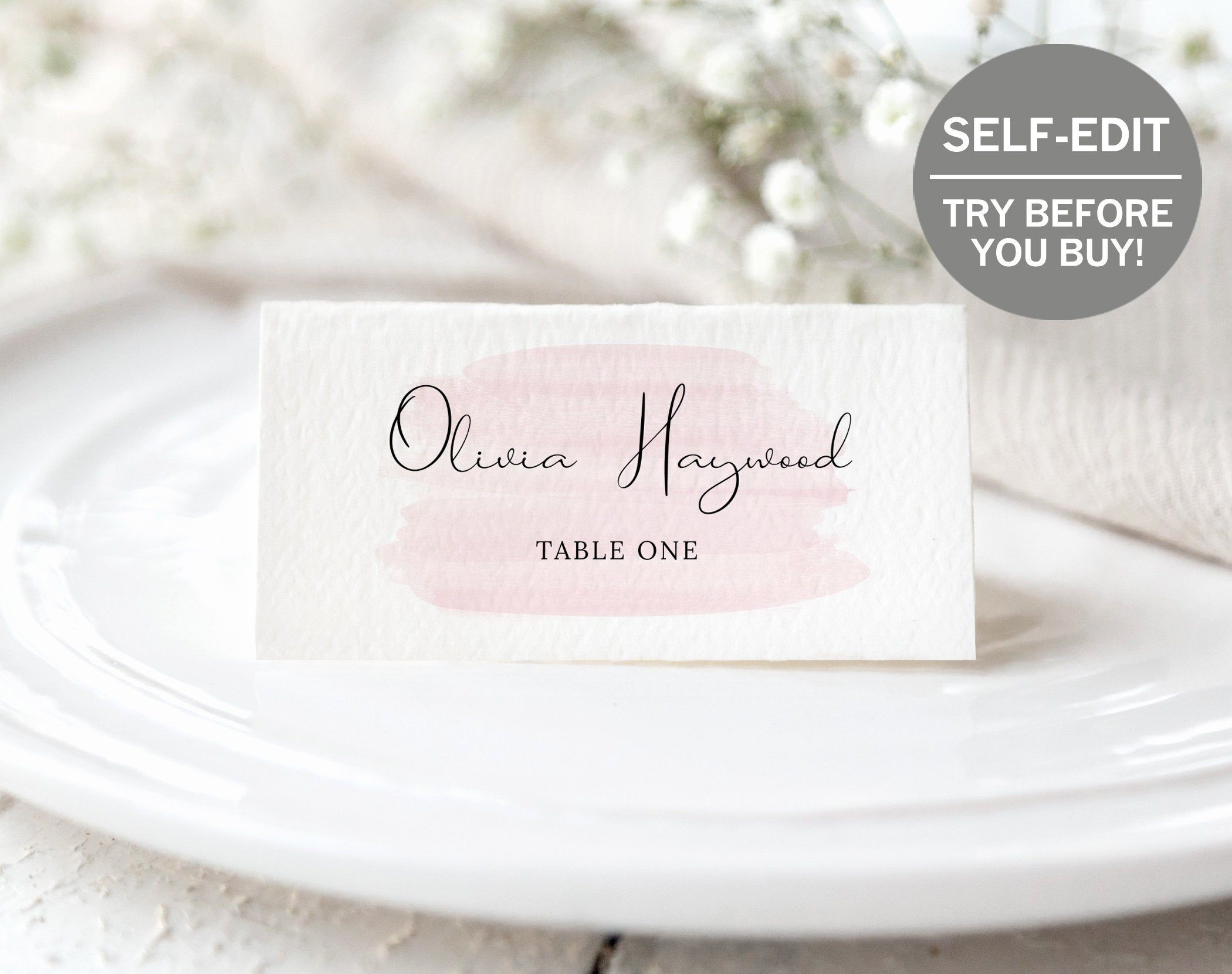Rose Gold Wedding Place Card Template Try Before You Buy Etsy Wedding Name Cards Wedding Place Card Templates Wedding Place Cards