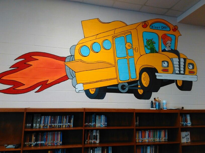 Library Mural Of The Magic School Bus Mural Wall Murals Painted
