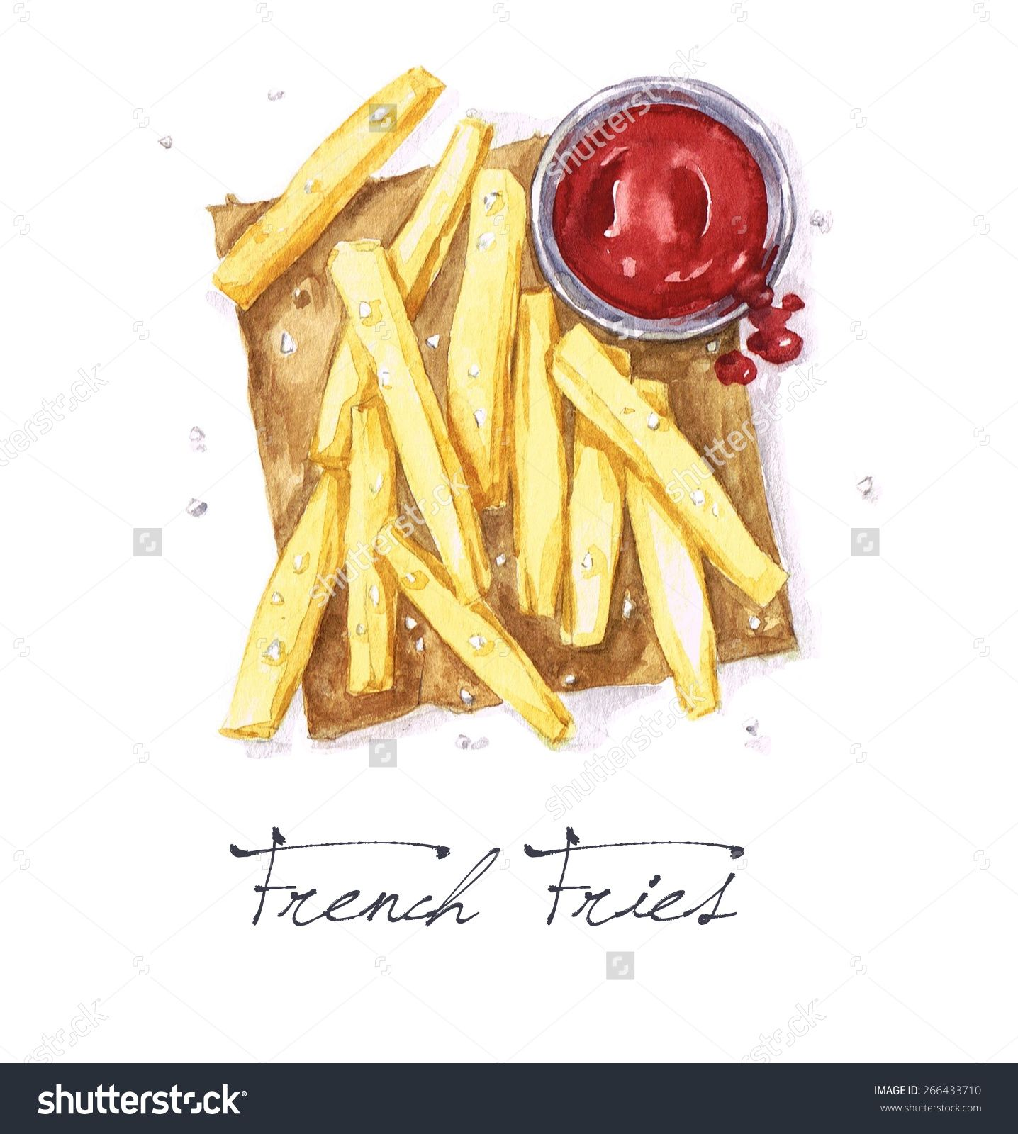 French Fries Watercolor Food Collection Stock Illu