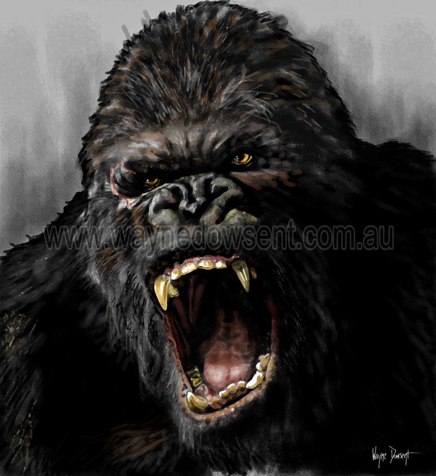 Gorilla vs lion all out animalistic tattoos - King kong design ...