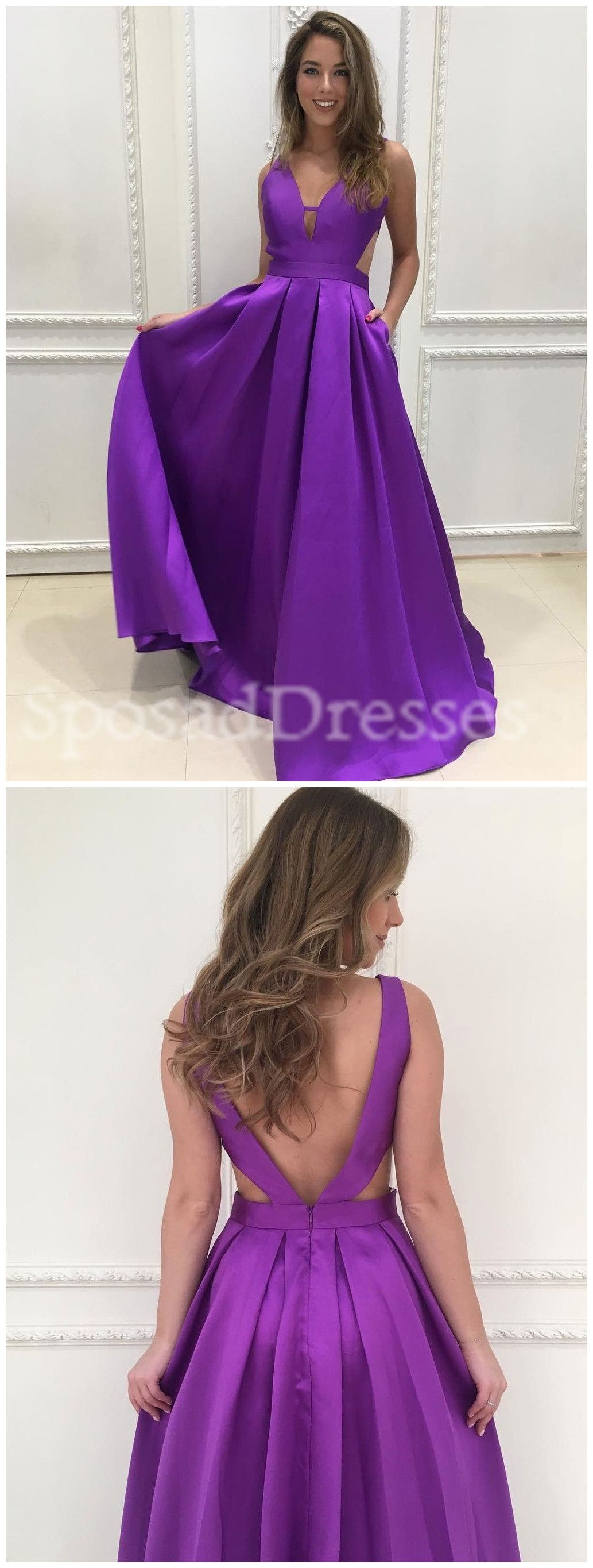 Simple affordable sexy backless v neck purple long custom evening