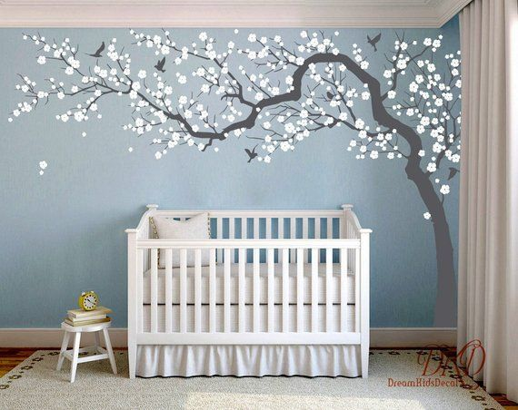 Wall Decal Charming Pink Blossom Tree Cherry Blossom Tree Etsy Pink Blossom Tree Nursery Mural Nursery Wall Decals