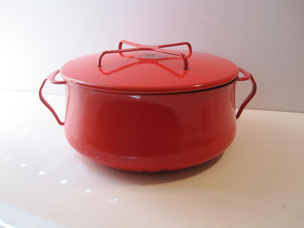 Vintage Danish Dansk 10 Kobenstyle Red 4 Qt Covered Dutch Oven Made In France Lidded Enamel Pot Qui Vintage Danish Red