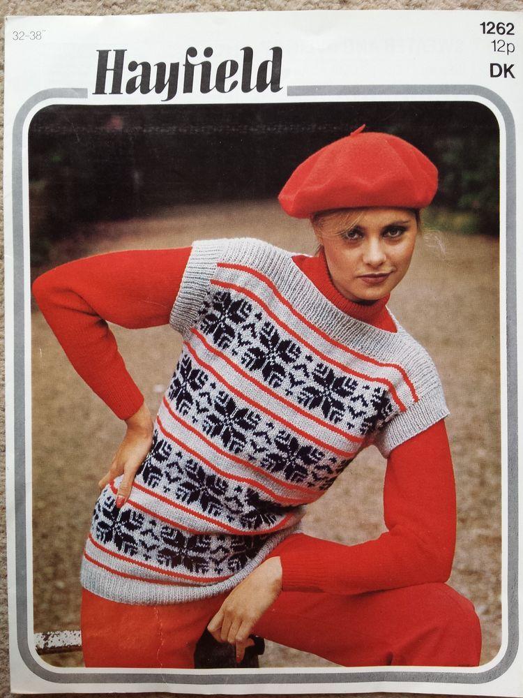 Vintage / retro knitting pattern Hayfield 1262 ladies DK ...