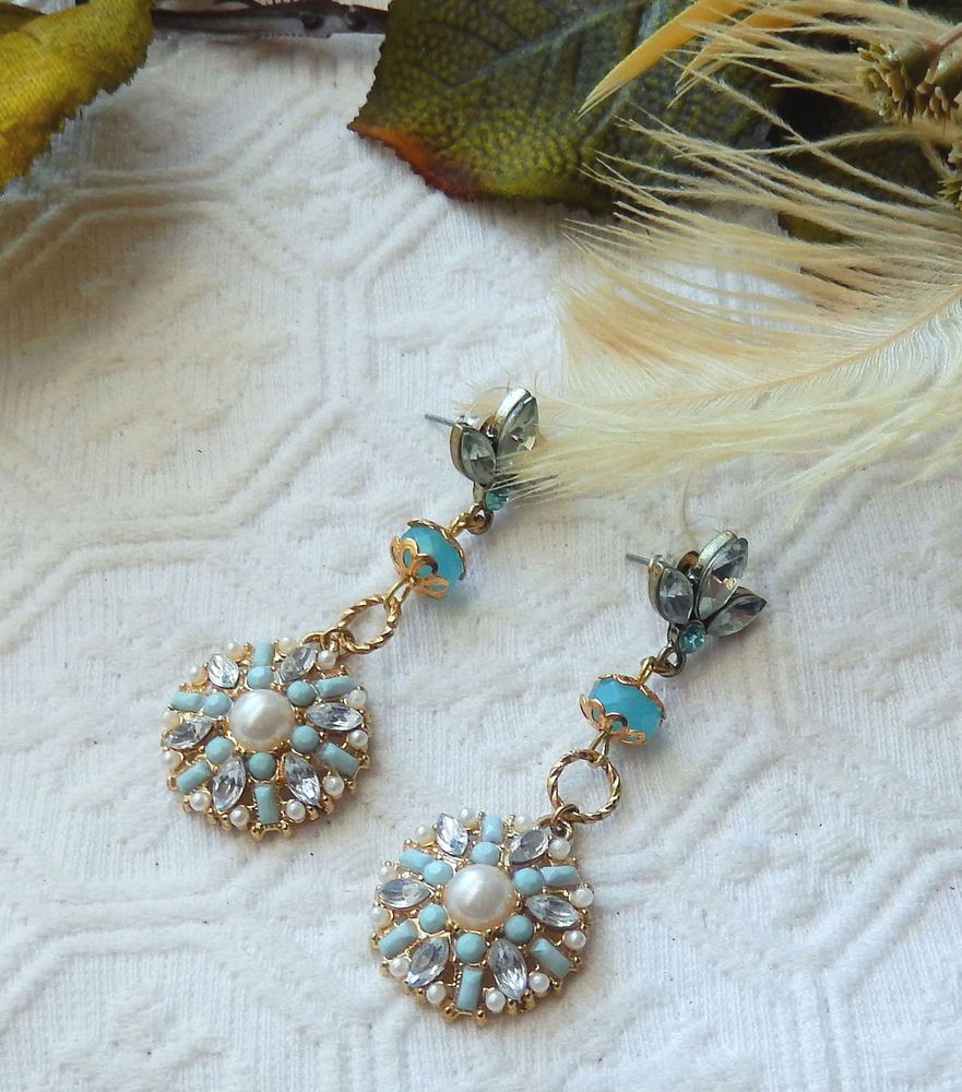 NWOT Handcrafted Light Blue Crystal Gold and Pearl Chandelier Post Earrings #Handmade #Chandelier