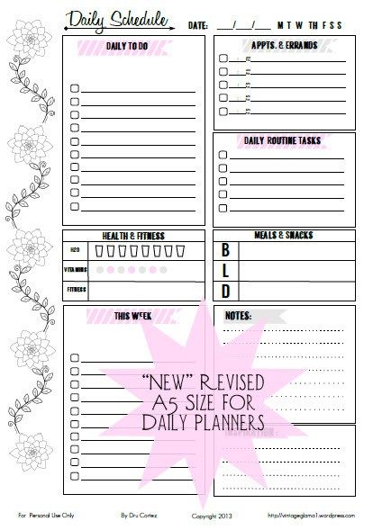 Free Printable Download - Doodled Floral Daily To-Do List Vintage