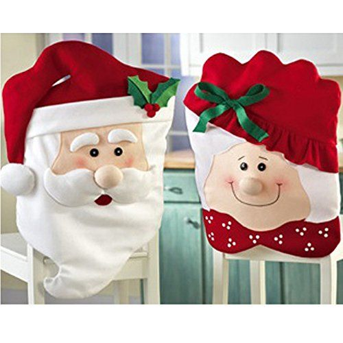 Lovely Mr Mrs Santa Claus Christmas Dining Room Chair Cover Home Party  Decor 2 Pair *