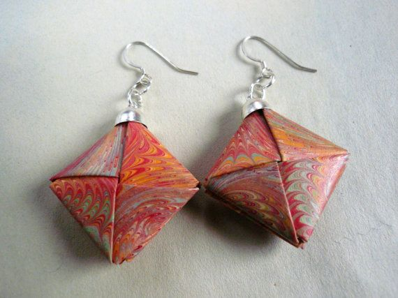 Marbled paper  Orange Origami earrings by Manufactapaper on Etsy, $10.00