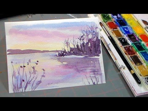 Easy 3 Color Watercolor Sunset Youtube Arte Watercolor Art