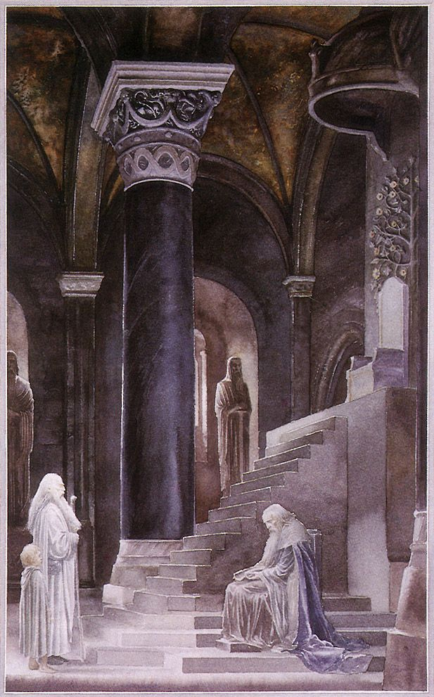 """'Gandalf Before Denethor' by Alan Lee """"Pippin never forgot that hour in the great hall under the piercing eye of the Lord of Gondor, stabbed ever and anon by his shrewd questions, and all the while conscious of Gandalf at his side, watching and listening, and (so Pippin felt) holding in check a rising wrath and impatience."""""""