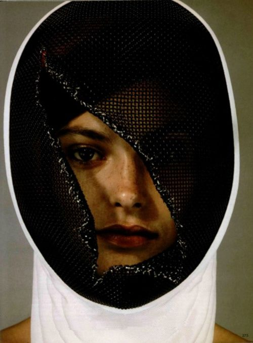 fencing concept image see face in cracked mask untitled. Black Bedroom Furniture Sets. Home Design Ideas