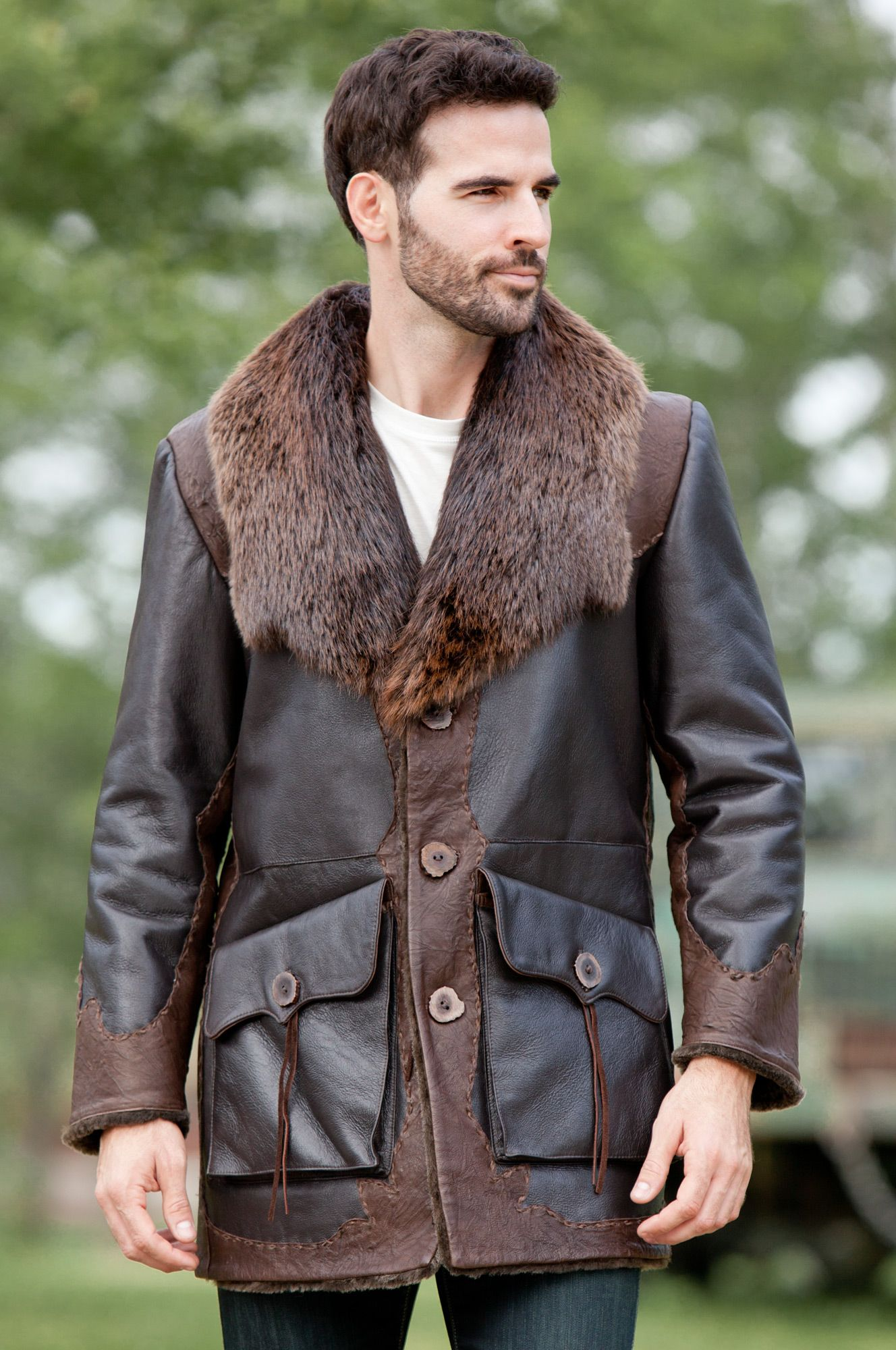 Men's Jasper Sheepskin Shearling Leather Coat with Beaver