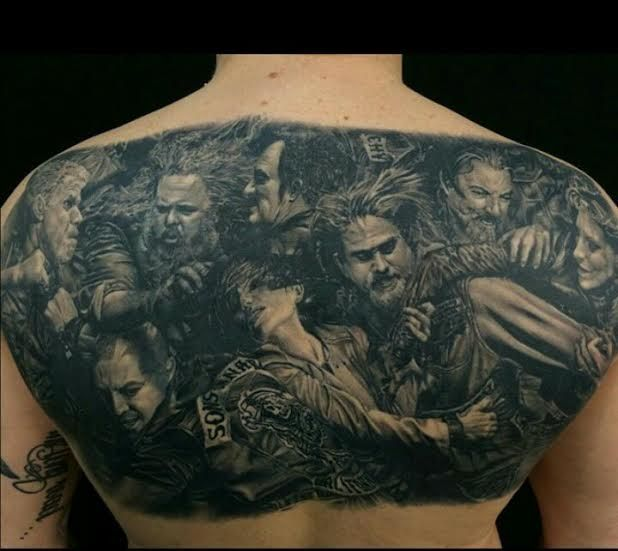 60 Hours Sons Of Anarchy Back Piece By Garihendersontattoos Monster Tattoo Sick Tattoo Cool Tattoos