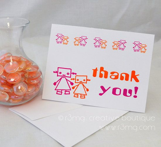 Orange and Pink Robot Thank You Cards  Set of 10 by r3mg on Etsy, $12.00