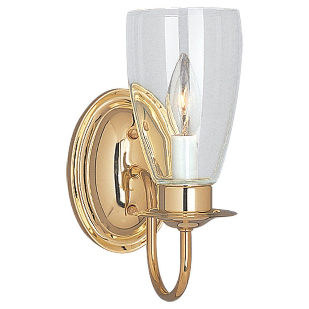 Sea Gull Lighting 4167 02 One Light Wall Sconce Polished Brass Finish With Clear Glass Amazon Com Brass Wall Sconce