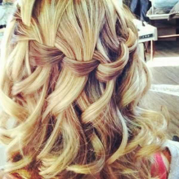Waterfall braid with curled hair, gorgeous!
