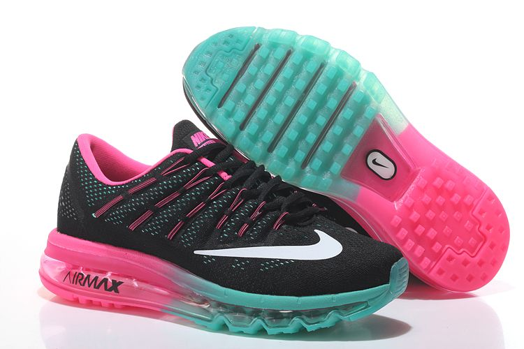 Nike Air Max 2016 Women's Running Shoes Black Blue Pink.jpg 750×500 pixels