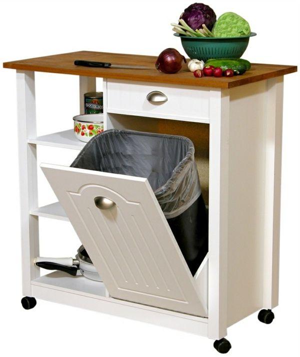 portable kücheninseln kochen regale idee   küche   pinterest ... - Küchenwagen Mit Mülleimer