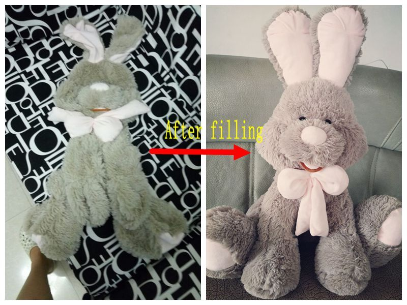 1pc 70cm bowknot rabbit gray bunny plush doll skin coat no cotton semi-finished product toy gift wholesale #bunnyplush