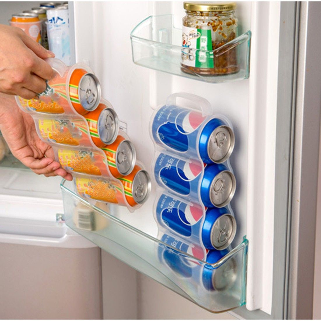 New Kitchen Accessories Coke Drink Can Space Saving Cans Finishing Frame 4 Storage Box Refr Kitchen Organization Refrigerator Storage Refrigerator Organization