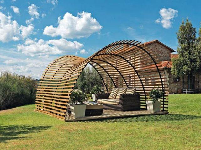 Terrasse pergolas en bois. Jardin / Garden. Photo : Unopiu   Jardin ...