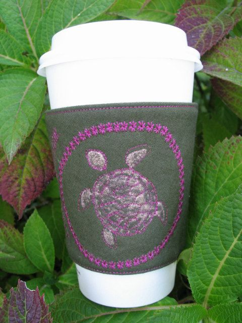 Coffee Cozy  Sea Turtle  Coffee Sleeve by CreamNoSugar on Etsy, $9.50