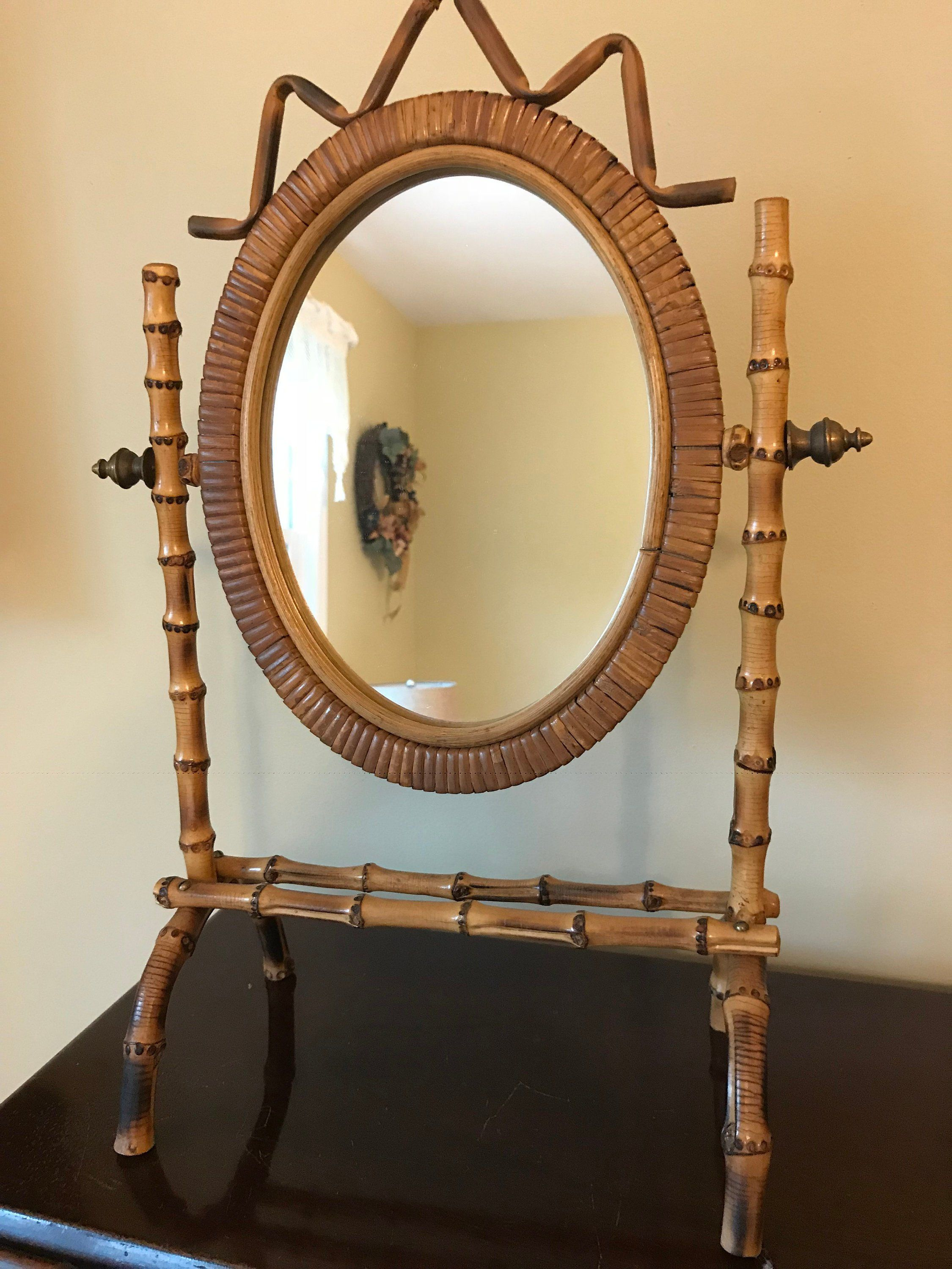 Rare Antique Victorian Bamboo Tilting Tabletop Psyche Mirror Etsy Bamboo Mirror Rare Antique Vintage Dressing Tables