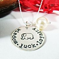 Wisdom Luck Loyalty Elephant Necklace Hand Stamped Sterling Silver
