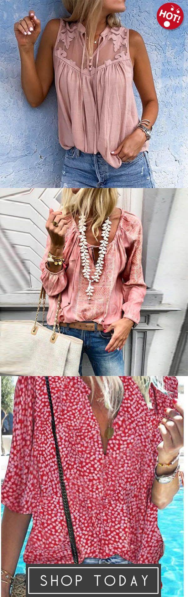 Photo of Chiffon Vintage Sleeveless V Neck Blouses,Lace Up Fashion V …