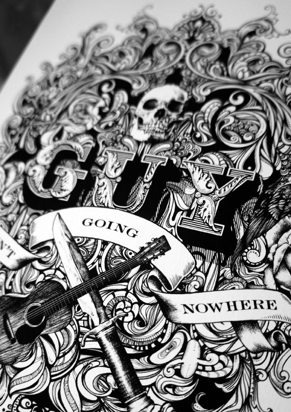 'Guy Clark' - Editorial Illustration by Greg Coulton, via Behance