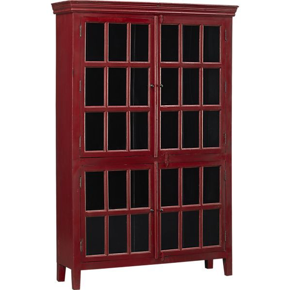 Rojotallcabinet3qf13r Tall Cabinet Red Cabinets Crate And Barrel