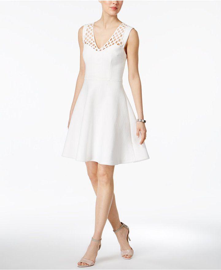 Betsey Johnson Lattice-Trim Fit & Flare Dress