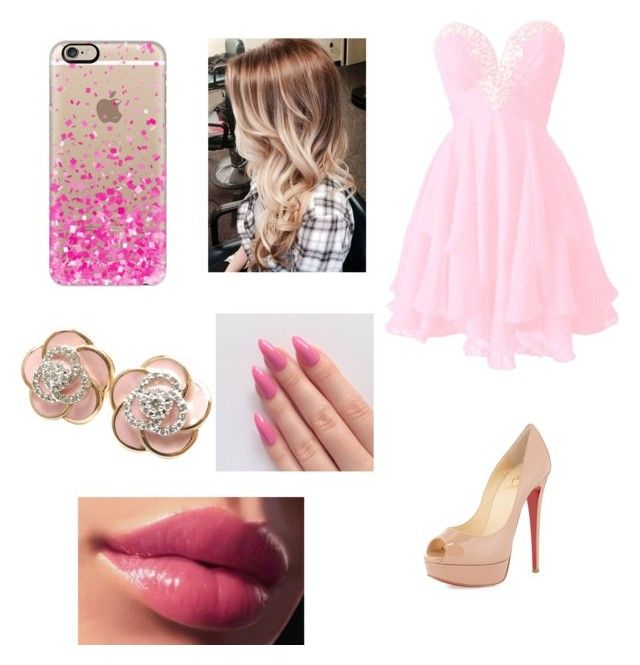 """""""Sweet 16 dress!!"""" by cupcakeavenue2014 ❤ liked on Polyvore featuring moda, Christian Louboutin, Casetify y Roberto Coin"""