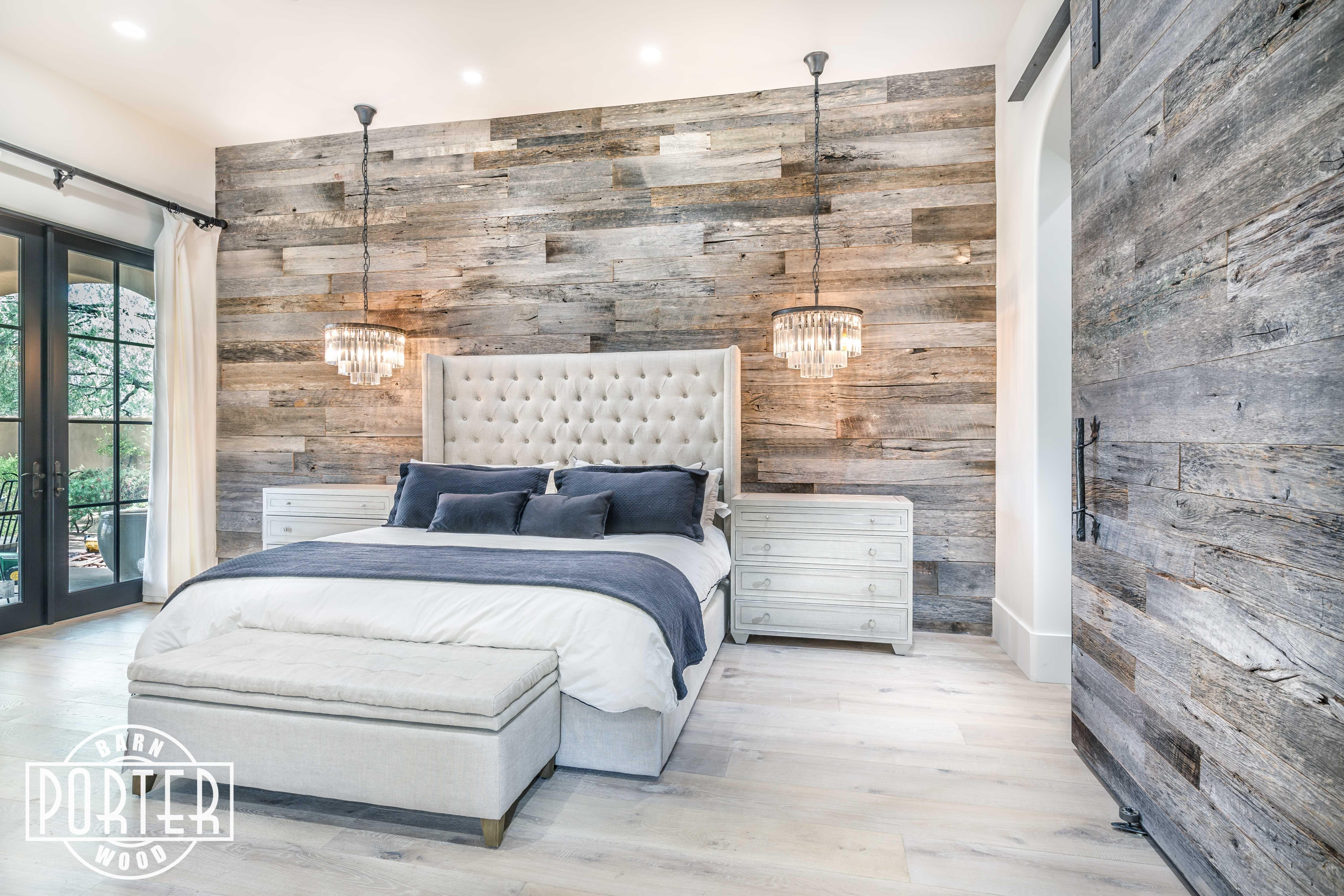 Pbw Tobacco Barn Grey Wood Wall Master Bedroom Guest Bedroom Remodel Remodel Bedroom Master Bedroom Remodel